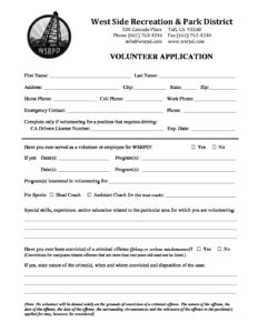 Volunteer Application 1718 - West Side